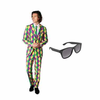 Verkleed harlekijn print net heren kostuum maat 52 (xl) met gratis zo