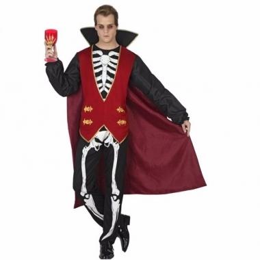 Verkleed heren outfit vampier met skelet print