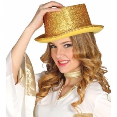 Verkleed hoge hoed gouden glitters