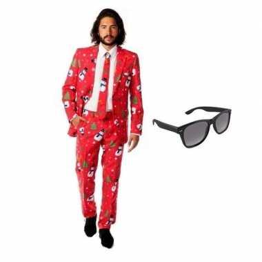 Verkleed kerst print heren kostuum maat 50 (l) met gratis zonnebril