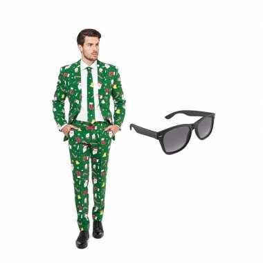 Verkleed kerst print net heren kostuum maat 50 (l) met gratis zonnebr