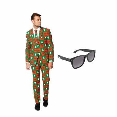 Verkleed kerst print net heren kostuum maat 58 (xxxxl) met gratis zon
