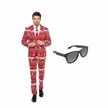 Verkleed kerstboom print net heren kostuum maat 52 (xl) met gratis zo