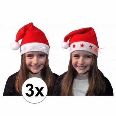 Verkleed kerstmuts met witte sterretjes voor kinderen 3 stuks