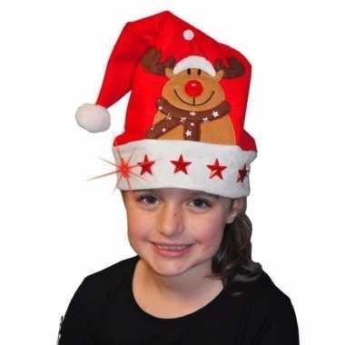 Verkleed kerstmuts rendier met lichtjes voor kinderen