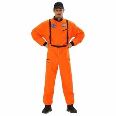 Verkleed kleding astronaut jumpsuit oranje voor heren