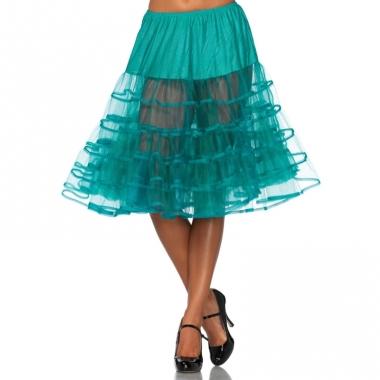 Verkleed lange petticoat jade groen voor dames