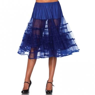 Verkleed lange petticoat kobalt blauw voor dames