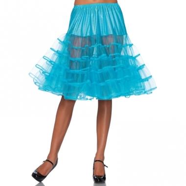 Verkleed lange petticoat turquoise voor dames
