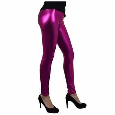 Verkleed legging fuchsia roze metallic voor dames