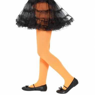 Verkleed legging oranje voor kinderen 6-12 jaar