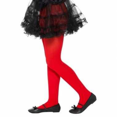 Verkleed legging rood voor kinderen 6-12 jaar