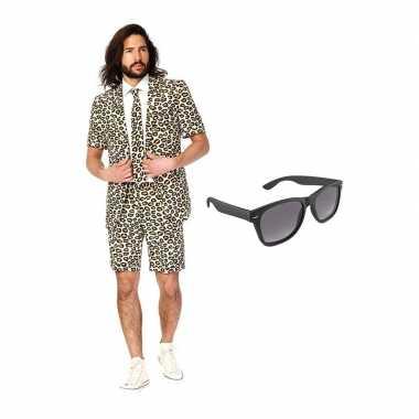 Verkleed luipaard print net heren kostuum maat 50 (l) met gratis zonn