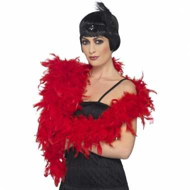 Verkleed luxe veren boa rood 180 cm