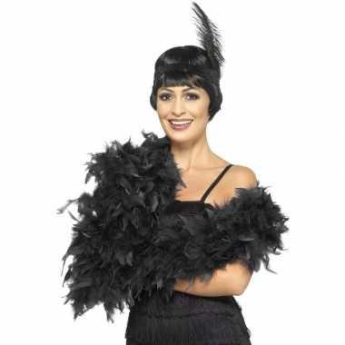 Verkleed luxe veren boa zwart 180 cm