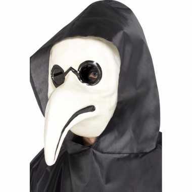 Verkleed masker pest dokter wit voor volwassenen