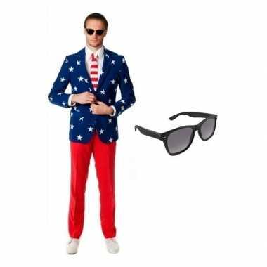 Verkleed met amerikaanse vlag print heren kostuum maat 54 (2xl) met g