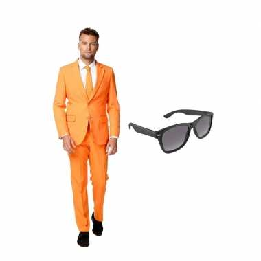 Verkleed oranje net heren kostuum maat 46 (s) met gratis zonnebril