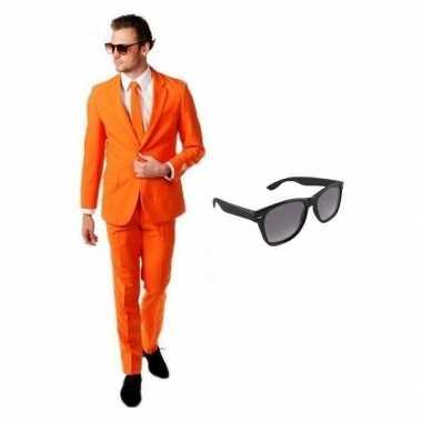 Verkleed oranje net heren kostuum maat 50 (l) met gratis zonnebril