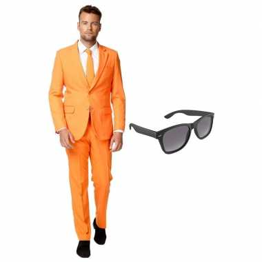Verkleed oranje net heren kostuum maat 54 (xxl) met gratis zonnebril