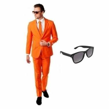 Verkleed oranje net heren kostuum maat 56 (3xl) met gratis zonnebril