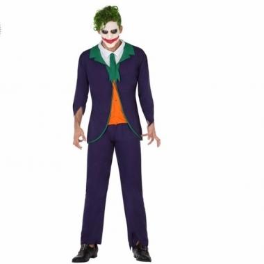 Verkleed outfit enge clown joker voor volwassenen