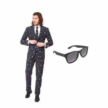 Verkleed pac-man print net heren kostuum maat 50 (l) met gratis zonne