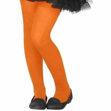 Verkleed panty oranje voor kinderen