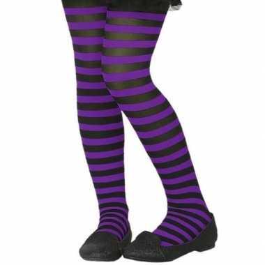 Verkleed panty zwart met paars voor kinderen