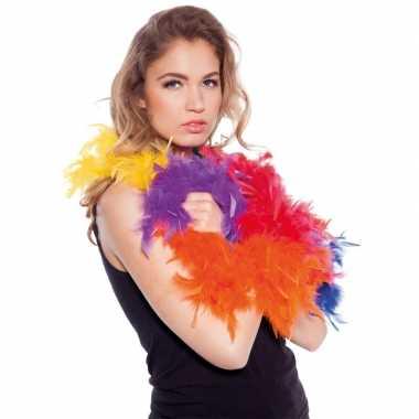 Verkleed party boa regenboog kleuren 180 cm