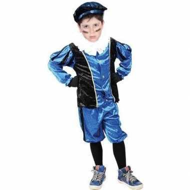 Verkleed pieten kostuum zwart/blauw met baret voor kinderen sinterkla