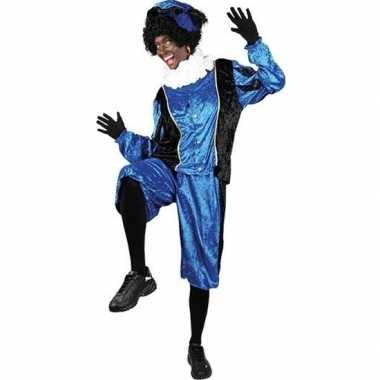 Verkleed pieten kostuum zwart/blauw met baret voor volwassenen sinter