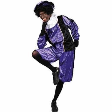 Verkleed pieten kostuum zwart/paars met baret voor volwassenen sinter