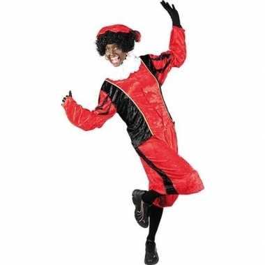 Verkleed pieten kostuum zwart/rood met baret voor volwassenen sinterk