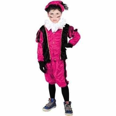 Verkleed pieten kostuum zwart/roze met baret voor kinderen sinterklaa