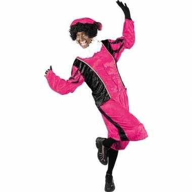 Verkleed pieten kostuum zwart/roze met baret voor volwassenen sinterk