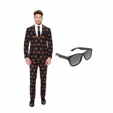Verkleed pompoen print net heren kostuum maat 50 (l) met gratis zonne