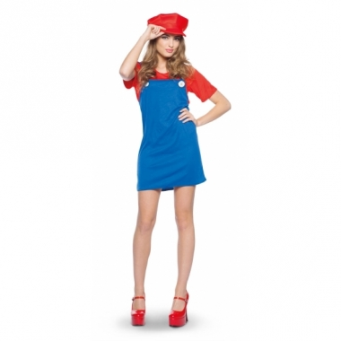 Verkleed rode loodgieter jurk voor dames