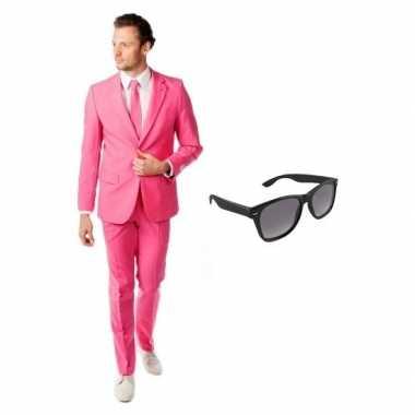 Verkleed roze net heren kostuum maat 50 (l) met gratis zonnebril