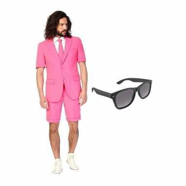 Verkleed roze net heren kostuum maat 52 (xl) met gratis zonnebril