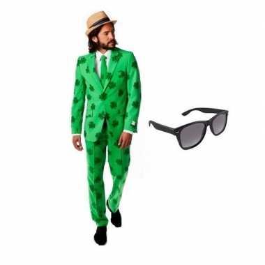Verkleed sint patricks day heren kostuum maat 56 (3xl) met gratis zon