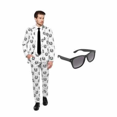 Verkleed stormtrooper print net heren kostuum maat 50 (l) met gratis