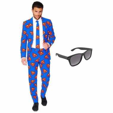 Verkleed superman net heren kostuum maat 56 (xxxl) met gratis zonnebr