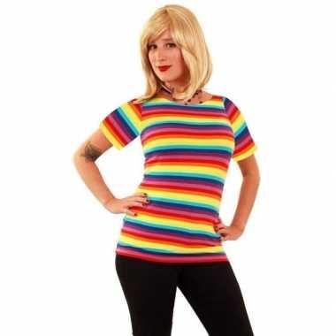 Verkleed t-shirt regenboogprint voor dames