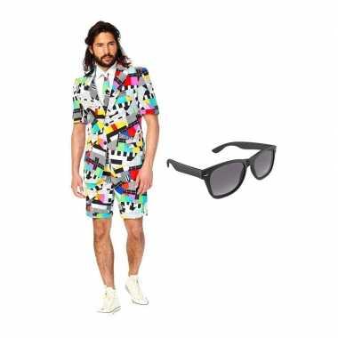 Verkleed testbeeld net heren kostuum maat 50 (l) met gratis zonnebril