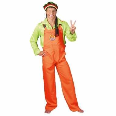 Verkleed tuinbroek neon oranje voor volwassenen