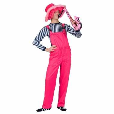 Verkleed tuinbroek neon roze voor volwassenen