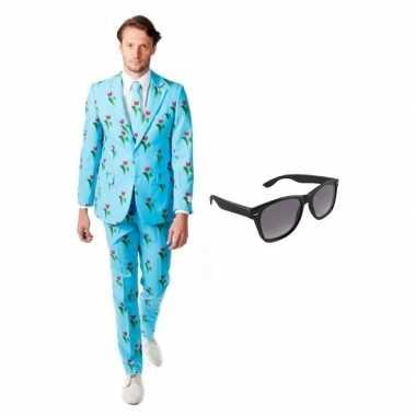 Verkleed tulpen print heren kostuum maat 50 (l) met gratis zonnebril