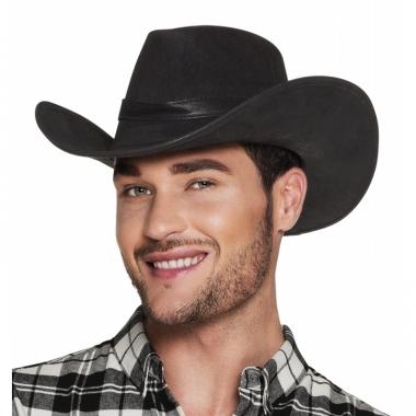 Verkleed ;uxe cowboyhoeden wyoming bruin met lederlook