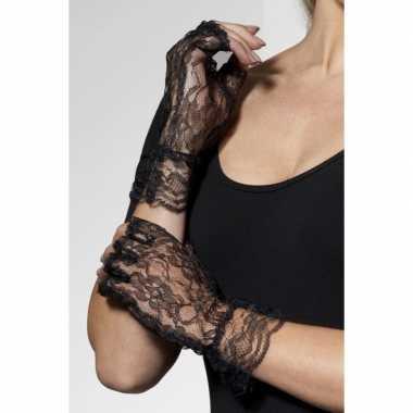 Verkleed vingerloze handschoenen barok/kant
